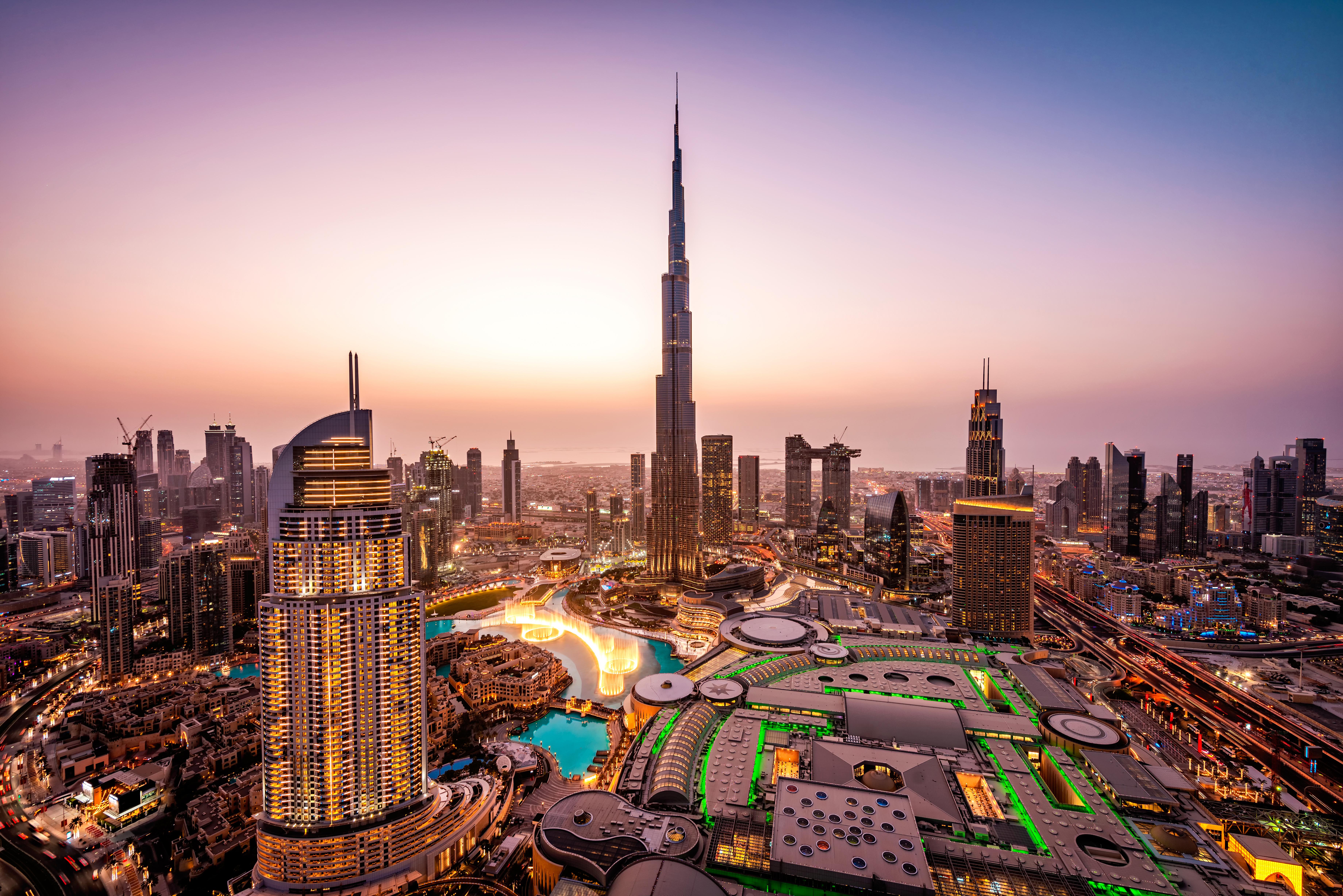 Dubai skyline at sunset with Burj Khalifa